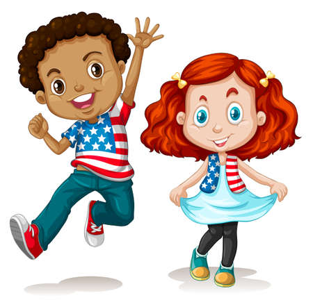 American boy and girl greeting illustration