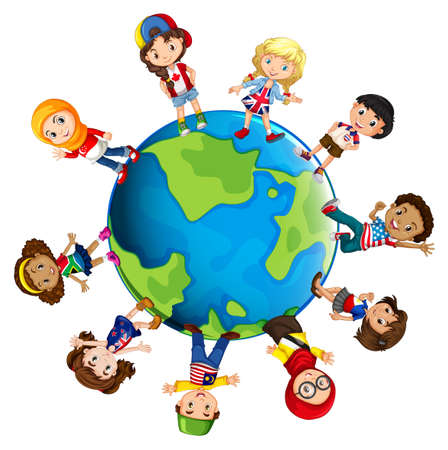 different countries: Children from different countries of the world illustration
