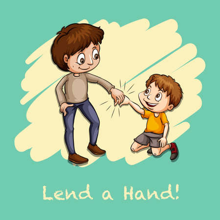 lend a hand: Old saying lend a hand illustration Illustration