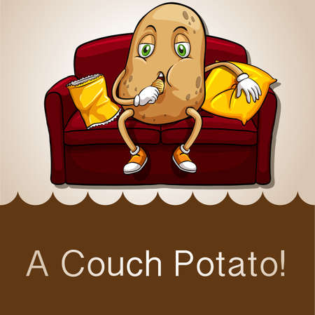 potatoes: Old saying couch potato illustration