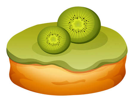 frosting: Doughnut with kiwi frosting illustration