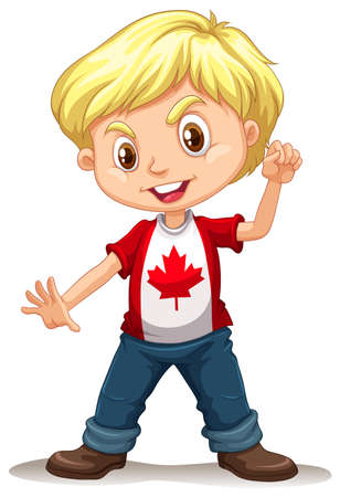 trouser: Canadian boy standing alone illustration