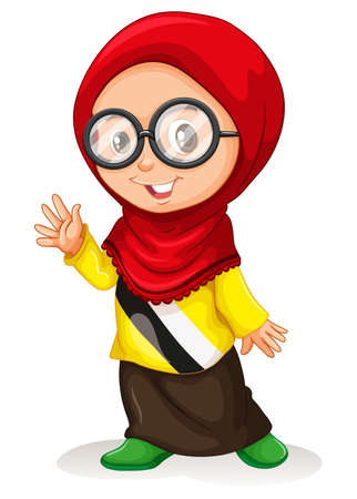 smile close up: Girl in muslim attire illustration Illustration