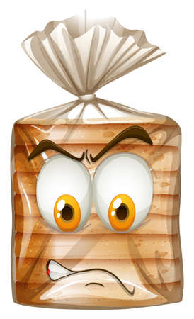 funny pictures: Packet of bread with angry face illustration