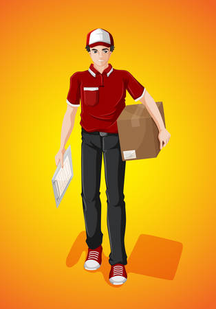 deliveryman: Delivery man with cardboard box illustration