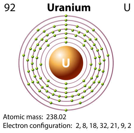 electron shell: Diagram representation of the element uranium illustration