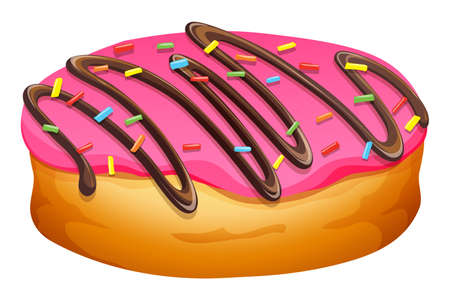 frosting: Doughnut with pink frosting illustration