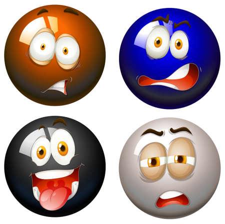 expresiones faciales: Bolas del billar con expresiones faciales ilustración