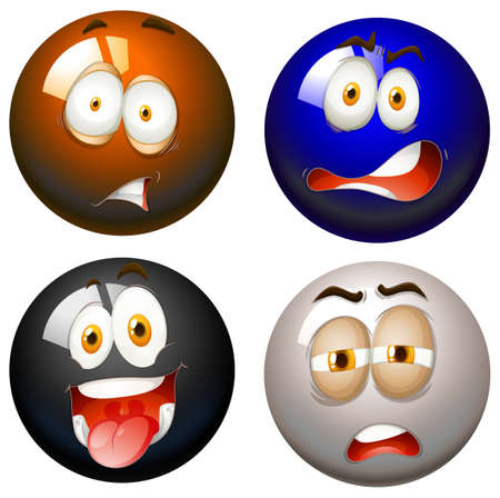 Snooker balls with facial expressions illustration