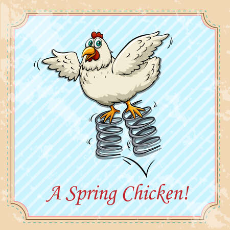 bounce: Chicken bouncing on spring illustration