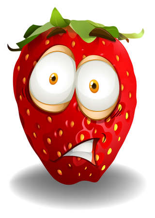 shocking: Strawberry with shocking face illustration