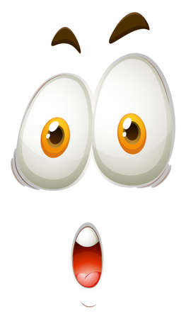 Facial expression of shocking face illustration