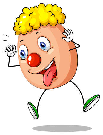 Funny egg character on white background illustration