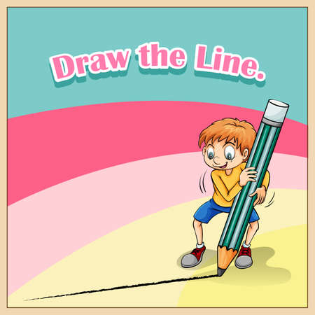 lead sled: Boy drawing line with big pencil illustration
