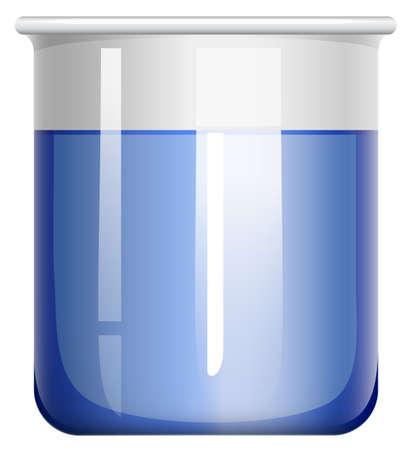 substances: Beaker with blue substance illustration
