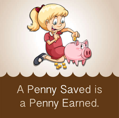 riches: Penny saved is a penny earned illustration