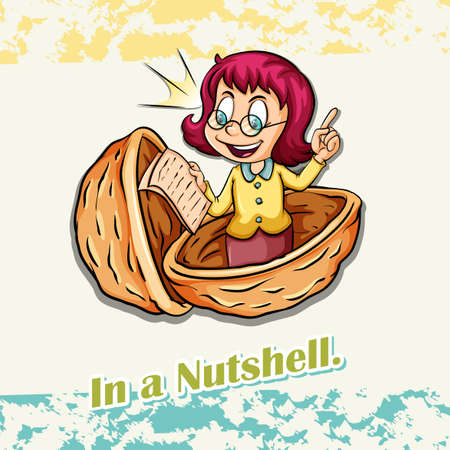 Old saying in a nutshell illustration Illustration
