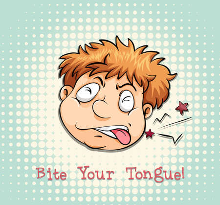 biting: Man face biting tongue illustration