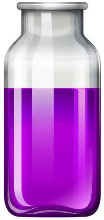bottle with water: Purple liquid in glass bottle illustration Illustration