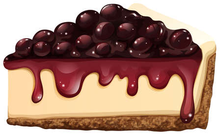 blueberry cheesecake: Cheesecake on white background illustration Illustration
