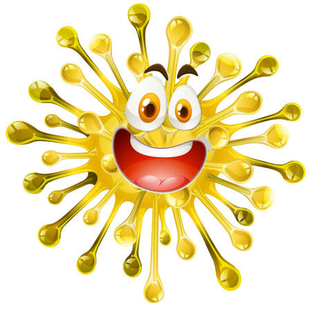 eye close up: Yellow form with happy face illustration Illustration