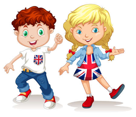 nationalities: British boy and girl smiling illustration