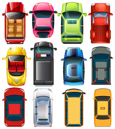 Top view of different cars illustration Stock Illustratie