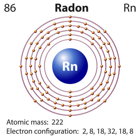 radon: Diagram representation of the element radon illustration