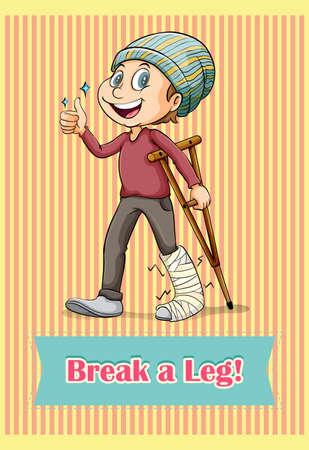 leg: Man with broken leg illustration Illustration