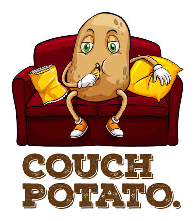 couch potato: Potato sitting on couch illustration