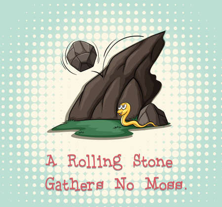 gathers: Rolling stone gathers no moss illustration Illustration
