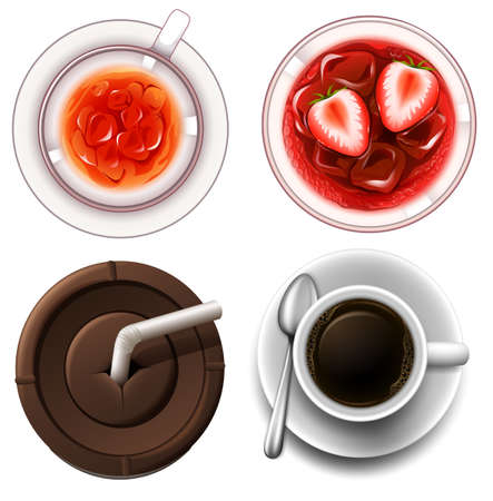 cold drinks: Top view of hot and cold drinks illustration