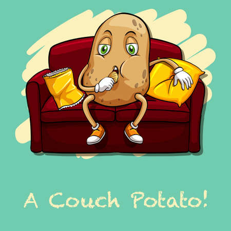 couch potato: Potato eating chips on couch illustration
