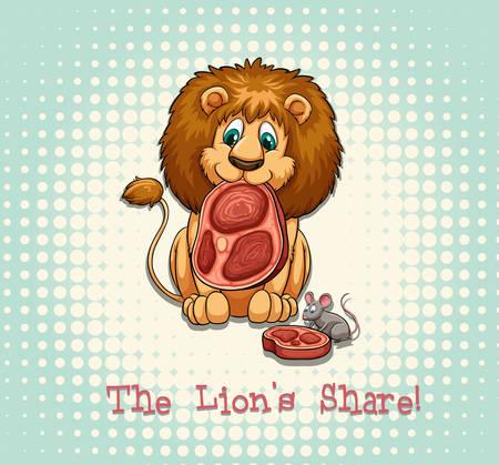 old drawing: Old saying lions share illustration Illustration