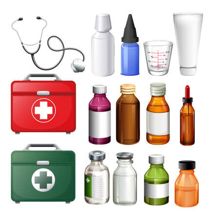 medicine box: Medical equipment and containers illustration