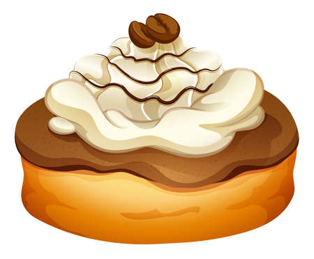 cream pie: Doughnut with chocolate topping illustration Illustration