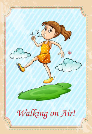 Idiom walking on air illustration