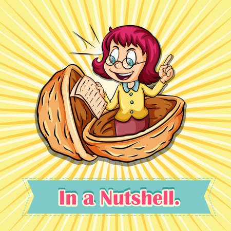 idiom: English idiom in a nutshell illustration Illustration
