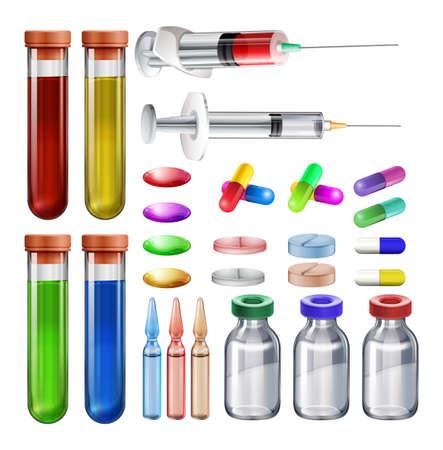 equipos medicos: Equipamiento m�dico y medicinas ilustraci�n Vectores