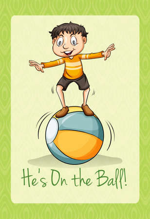 idiom: Idiom on the ball illustration Illustration