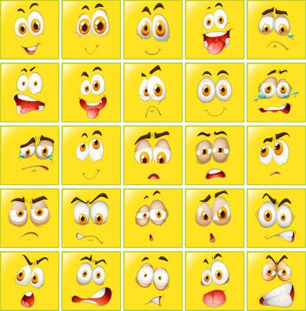 expresiones faciales: Las expresiones faciales de insignias amarilla ilustración Vectores