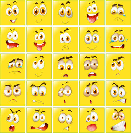 Facial expressions on yellow badges illustration