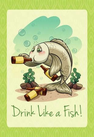 idiom: Idiom drink like a fish illustration