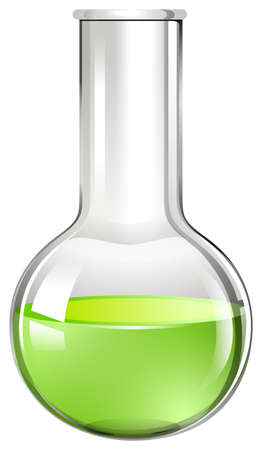 scientific: Green liquid in glass beaker illustration