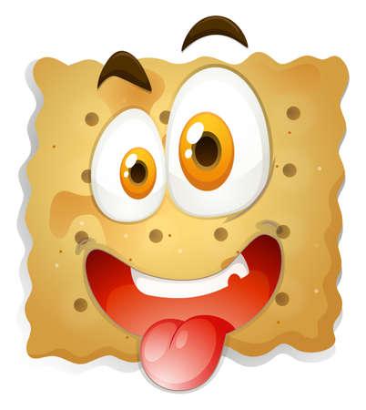 galletas: Cara feliz en la ilustración de galletas Vectores