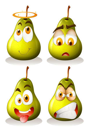 on a white background: Fresh pear with facial expressions illustration Illustration