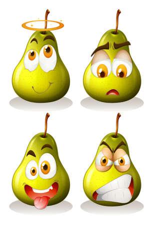 expresiones faciales: Pera fresca con expresiones faciales ilustración Vectores