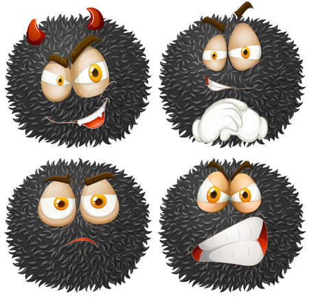 tricky: Facial expression on fluffy ball illustration