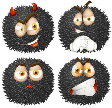 fluffy: La expresi�n facial en la ilustraci�n de bola mullida