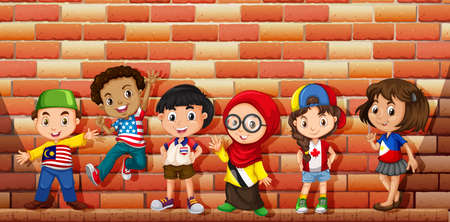 brunei: Children from different countries illustration
